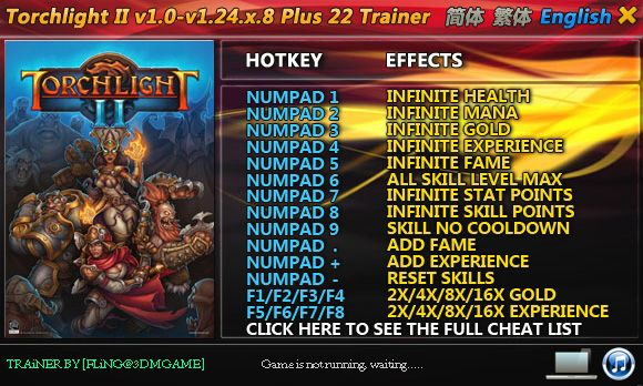 Torchlight II 1.9.5.1-1.24.5.8 +22 Trainer [FliNG]