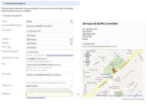 Google Places: formulário de informações básicas do estabelecimento comercial